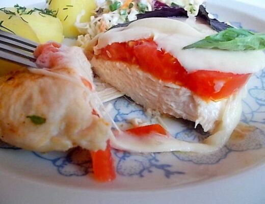 kotlet z kurczaka z mozzarellą i pomidorem - Pierś kurczaka z serem