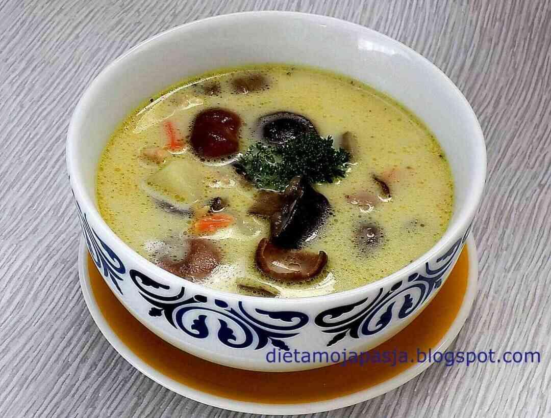 miska z zupą ze świeżych grzybów, ziemniakami i śmietaną - zupa grzybowa