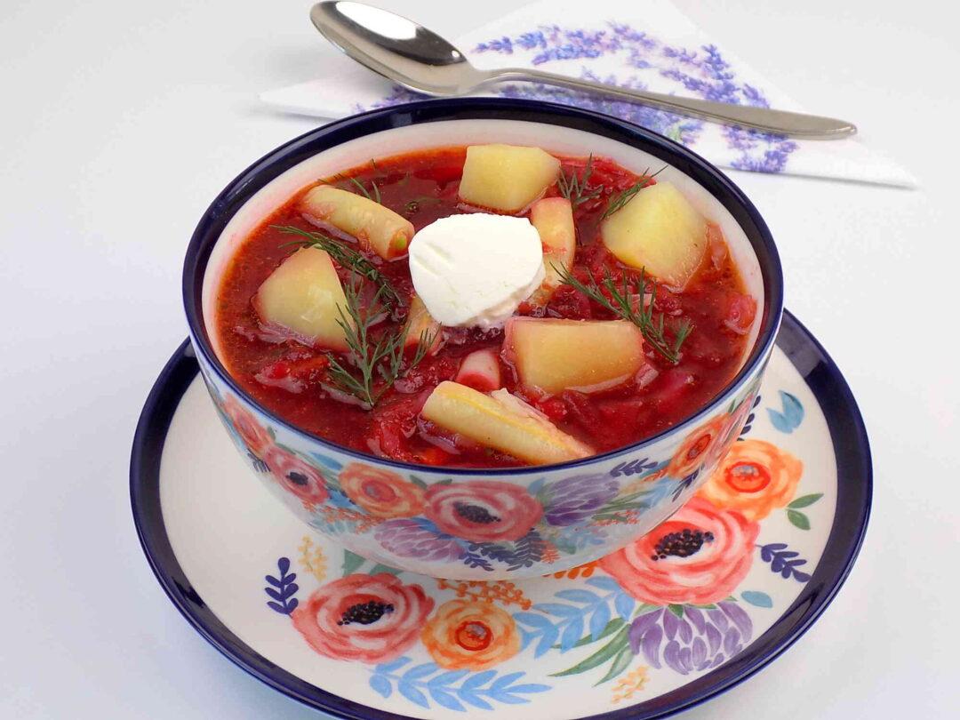 marszcz ukraiński z ziemniakami i fasolką bez mięsa - Barszcz ukraiński przepis