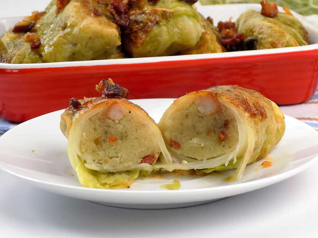 gołąbki z kapusty włoskiej z nadzieniem z ziemniaków - Gołąbki z ziemniakami