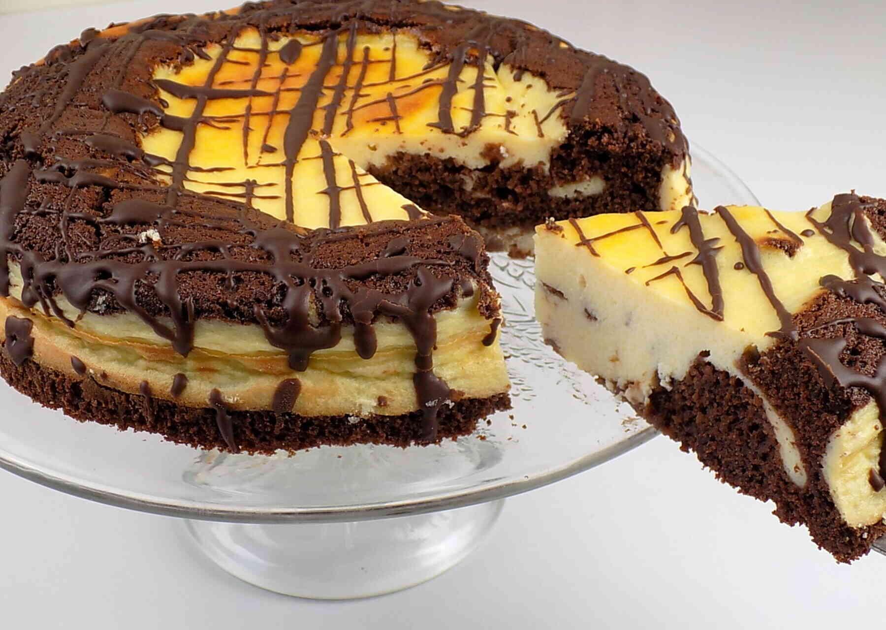 sernik na cieście czekoladowym - Ciasto czekoladowe wulkan